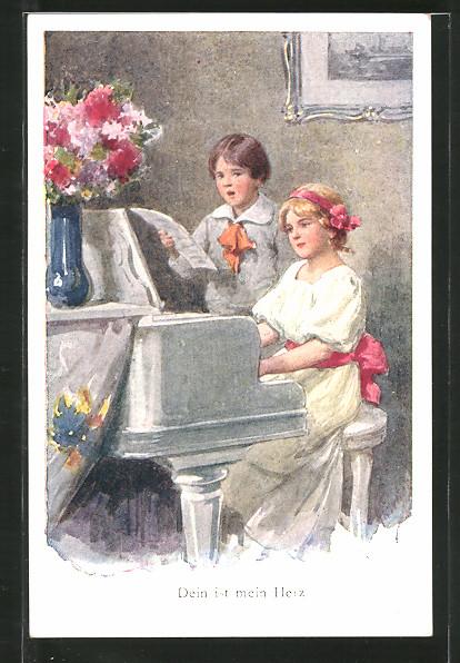 Künstler-AK Karl Feiertag: Dein ist mein Herz, musizierende Kinder