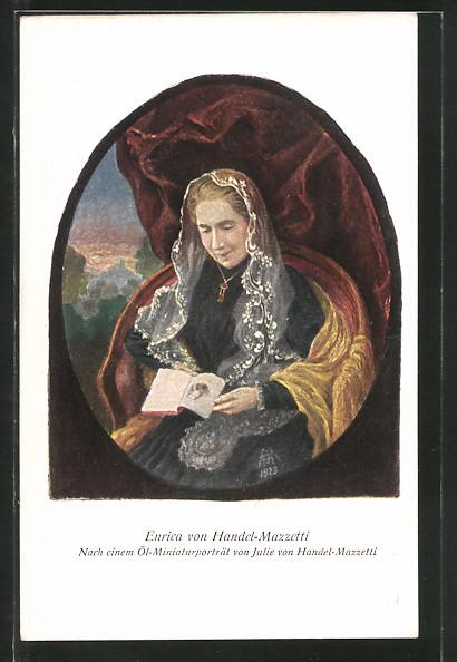 Künstler-AK Enrica von Handel-Mazzetti, Portrait der Dichterin
