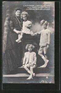 AK Madame la Comtesse de Flandre avec les Princes Léopold et Charles et la Princesse Marie-Jose, Königshaus von Belgien