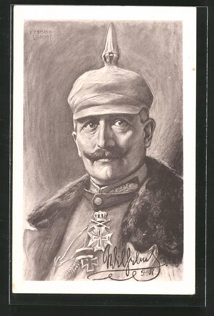 Künstler-AK Kaiser Wilhelm II., Portrait mit Pickelhaube-Überzug
