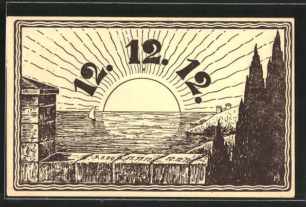 AK Datum 12.12.12., aufgehende Sonne