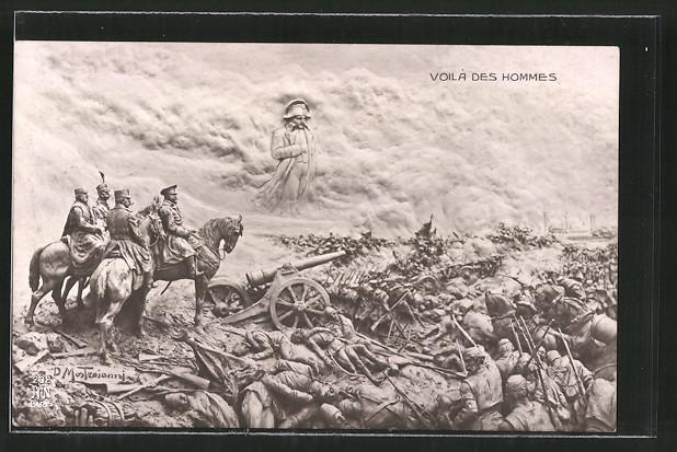 Künstler-AK Domenico Mastroianni: Voilà des Hommes, Geist von Napoleon über Schlachtfeld des 1. Weltkriegs
