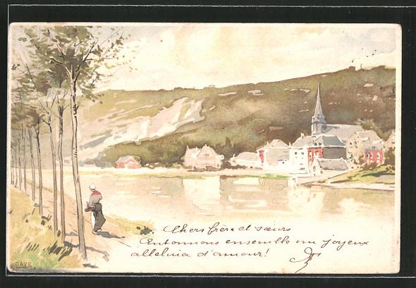 Künstler-AK sign. Dave: Ortschaft an einem Fluss