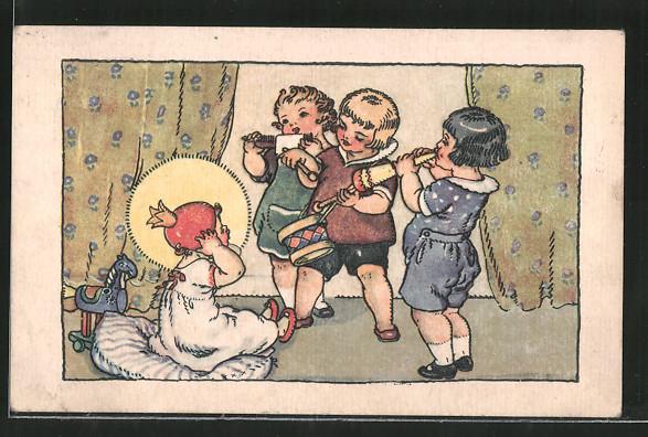 Künstler-AK M. Fischerova-Kvechova (MFK): Musizierende Kinder