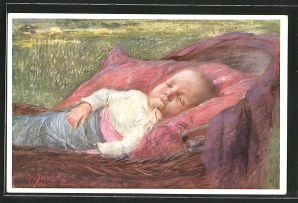 Künstler-AK Josef Straka: Schlummer, ruhender Säugling