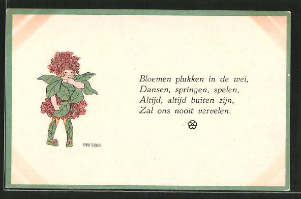 Künstler-AK Anny Tekauz: Bloehmen plukken in de wei..., Blumenfee