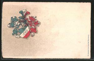 Präge-AK Studentenwappen mit Ritterhelm, Heraldik