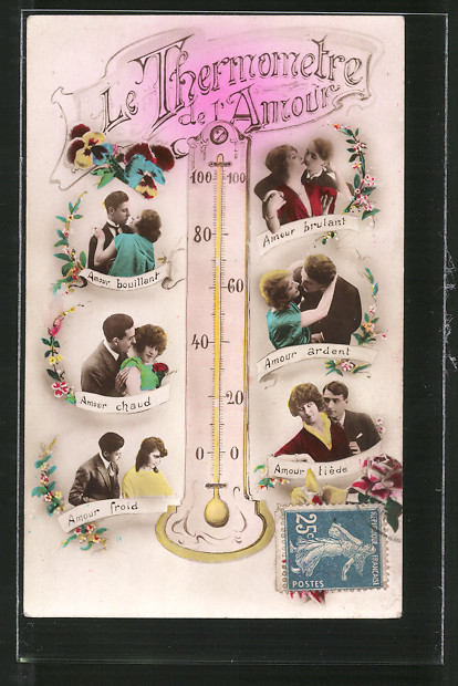 AK Le Thermometre de l'Amour, Liebesthermometer, Liebespaare