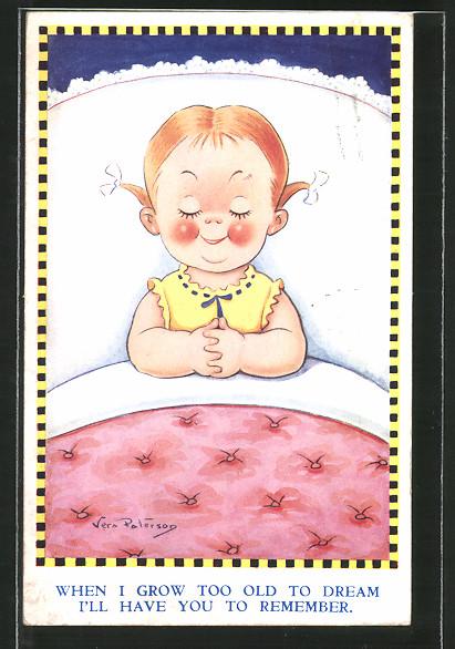 Künstler-AK Vera Paterson: Mädchen liegt im Bett und schläft