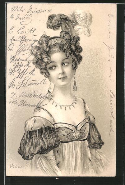 Künstler-Lithographie E. Bottaro: Junge Dame mit Federn im Haar