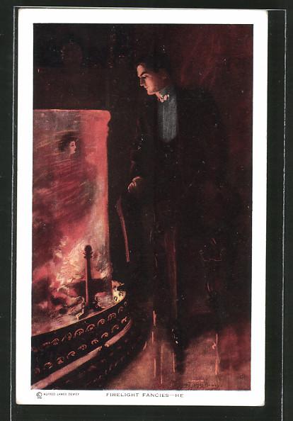 Künstler-AK Alfred James Dewey: Firelight fancies he, junger Mann sieht Mädchenbildnis im Kamin