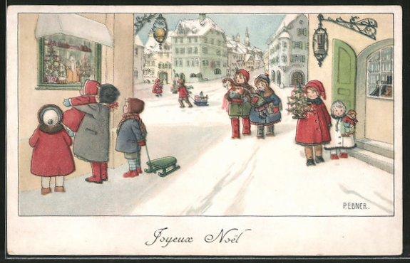 Künstler-AK Pauli Ebner: Joyeux Noel, Kinder in verschneitem Ort mit Weihnachtsgeschenken