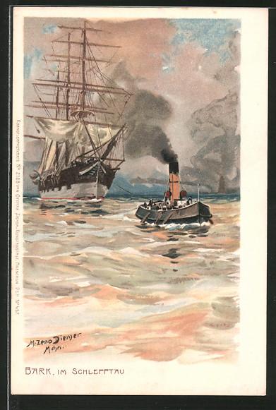 Künstler-Lithographie Zeno Diemer: Bark, im Schlepptau, Segelschiff