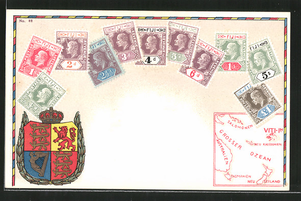 AK Fiji, versch. Briefmarken und Wappen der Fiji-Inseln