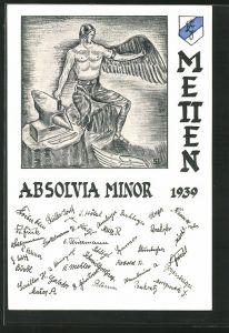 Künstler-AK Metten, Absolvia Minor 1939, Schmied fertigt sich Flügel an