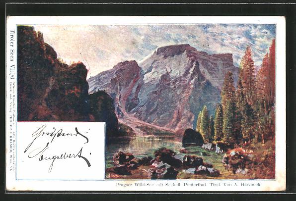Künstler-Lithographie Anton Hlavacek: Pragser Wild-See mit Seekofl, Pusterthal, Tirol