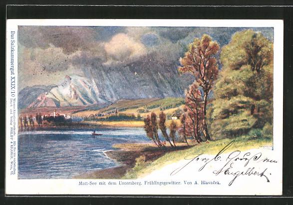 Künstler-Lithographie Anton Hlavacek: Matt-See mit dem Untersberg, Frühlingsgewitter