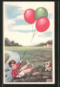 Künstler-AK Margret Boriss: einem Jungen mit Hund fliegen die Luftballons davon