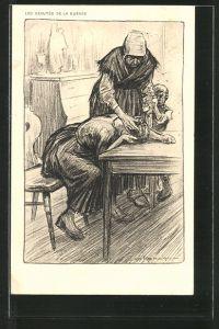 Künstler-AK Louis Raemaekers: Les Beautés de la Guerre, Mutter trauert um den Tod ihres Mannes im Krieg