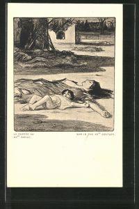 Künstler-AK Louis Raemaekers: La Guerre au XX. Siècle, tote Mutter und Kind liegen auf der Strasse