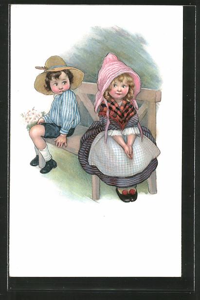 Künstler-AK Susan Beatrice Pearse: Junge mit Blumenstrauss sitzt neben einem Mädchen auf der Bank