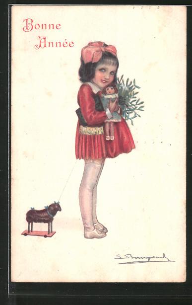 Künstler-AK Sergio Bompard: Mädchen hält ihre Puppe im Arm, Spielzeug, Neujahr