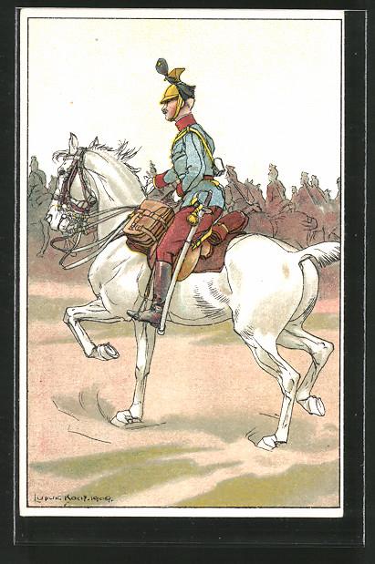 Künstler-AK Ludwig Koch: österr. Kavallerist in Uniform zu Pferde