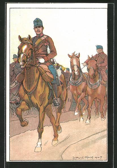 Künstler-AK Ludwig Koch: österr. Soldaten in Uniform mit einem Pferdegespann