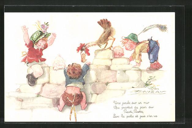 Künstler-AK Mauzan: Kinder spielen mit einem Hahn