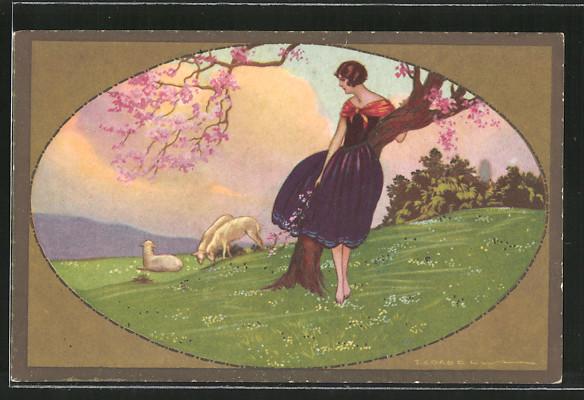 Künstler-AK Tito Corbella: Frau im blauen Kleid steht unter einem Baum, Schafe