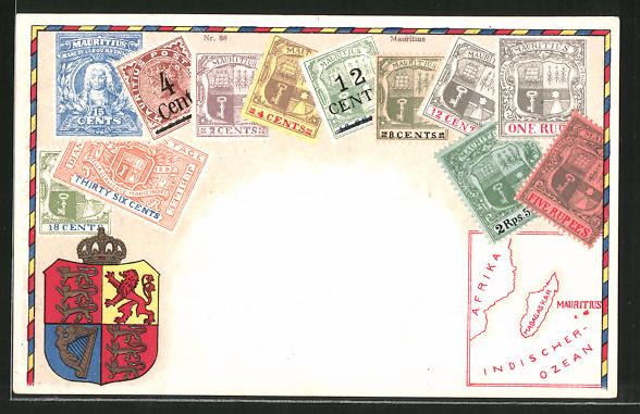 AK Mauritius, versch. Briefmarken, Wappen, Landkarte
