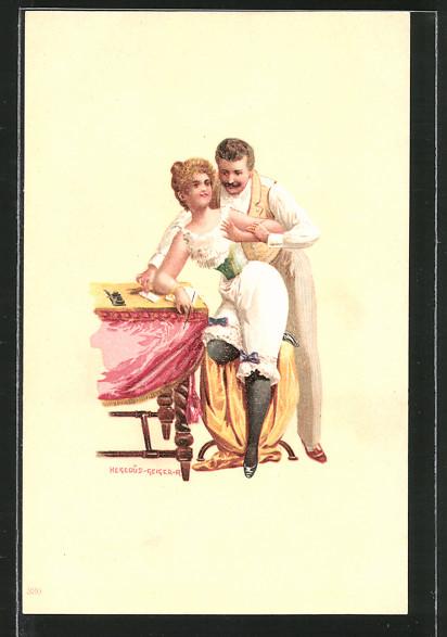 Künstler-Lithographie Richard Hegedüs-Geiger: Verehrer mit seiner Geliebten in Unterwäsche, Erotik