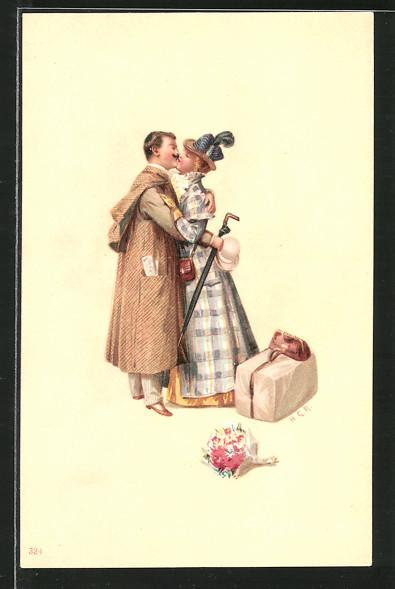 Künstler-Lithographie Richard Hegedüs-Geiger: Liebespaar küsst sich