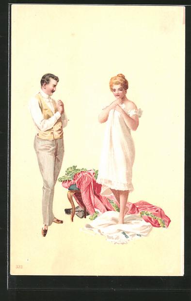 Künstler-Lithographie Richard Hegedüs-Geiger: blonde Frau steht in Unterwäsche vor ihrem Geliebten