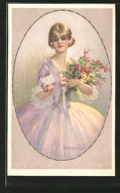 Künstler-AK Tito Corbella: blondes Fräulein mit Blumenstrauss hält einen Brief in der Hand