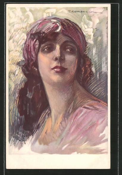 Künstler-AK Tito Corbella: Bildnis einer hübschen jungen Frau