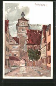 Künstler-Lithographie Karl Mutter: Rothenburg, Partie am Weissen Turm
