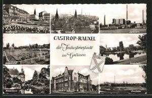 AK Castrop-Rauxel, Münsterplatz, Badeanstalt, Zeche Erin
