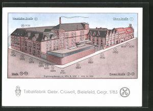 AK Bielefeld, Tabakfabrik Gebr. Crüwell, Neustädter Strasse Ecke Piggen-Strasse