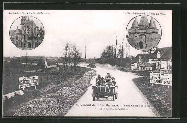 AK Circuit de la Sarthe 1906, Entre Cherré et Sceaux, La Fourche de Villaine, La Ferté-Bernard, Autorennen