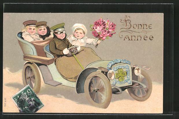 Präge-AK Bonne Année, kleine Gratulanten in Auto