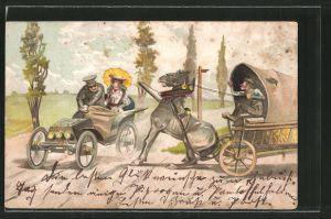 Lithographie Autofahrer nimmt Pferdekutsche die Vorfahrt