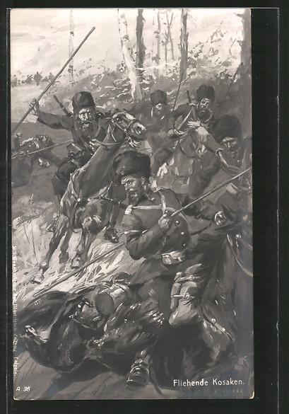 AK Fliehende Kosaken, Gefechtsszene