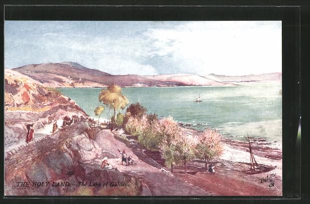Künstler-AK The Lake of Galilee, Karawane am Ufer des Sees