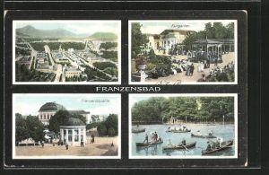 AK Franzensbad, Kurgarten, Franzensquelle, Boote auf dem Stadtteich