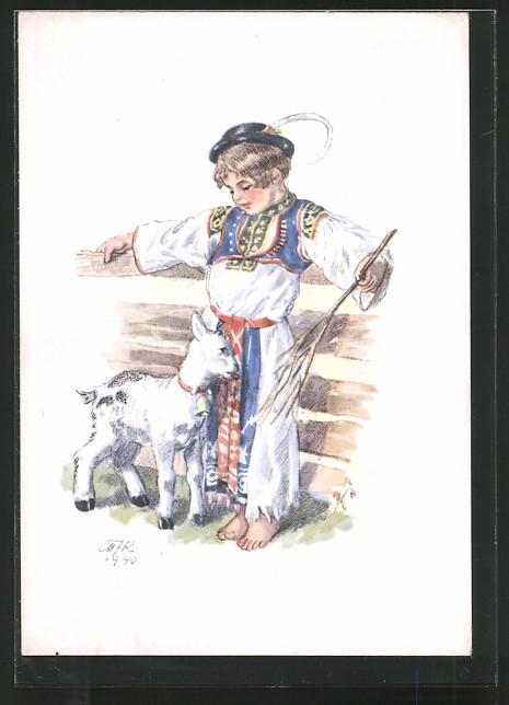 Künstler-AK M. Fischerova-Kvechova (MFK): Junger Ziegenhirte mit Zicklein