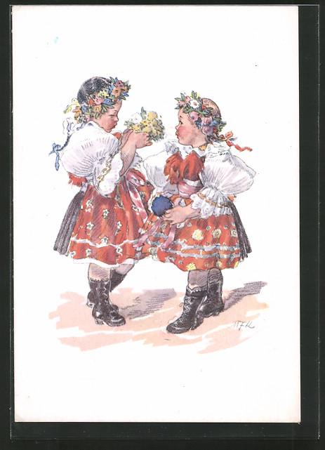 Künstler-AK M. Fischerova-Kvechova (MFK): Mädchen in Tracht mit Blumenkränzen im Haar