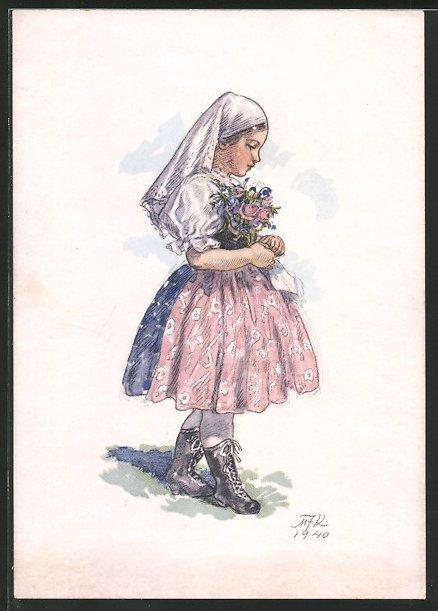 Künstler-AK M. Fischerova-Kvechova (MFK): Mädchen in Tracht mit Blumenstrauss
