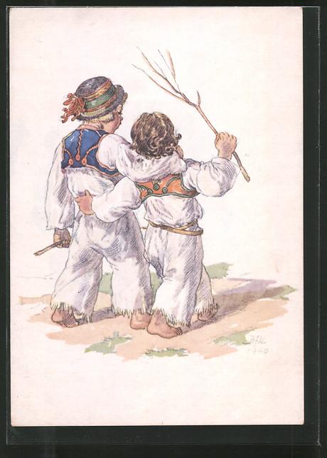 Künstler-AK M. Fischerova-Kvechova (MFK): Zwei Jungen in freundschaftlicher Umarmung