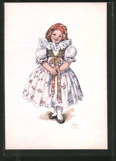 Künstler-AK M. Fischerova-Kvechova (MFK): Lächelndes Mädchen inTracht